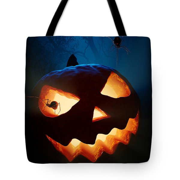 Halloween Pumpkin And Spiders Tote Bag by Johan Swanepoel