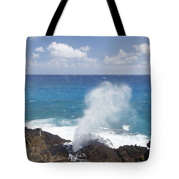 Halona Blowhole Tote Bag by Brandon Tabiolo