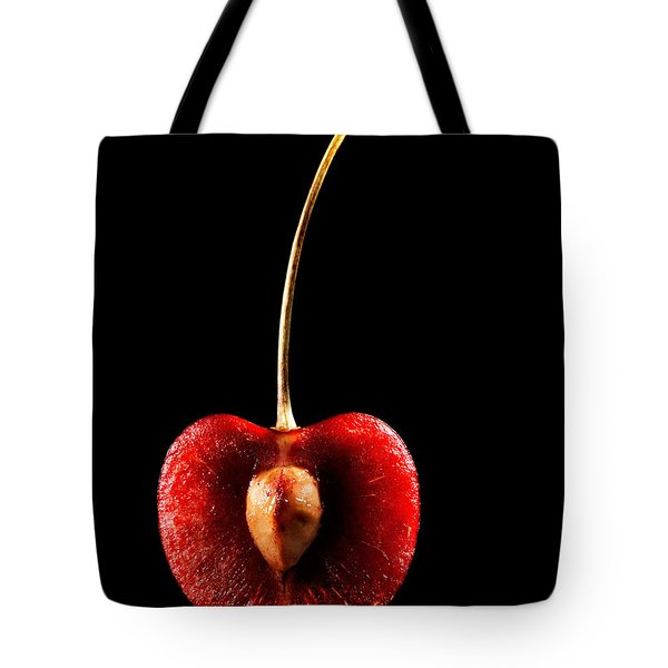 Halved Red Cherry Tote Bag by Johan Swanepoel