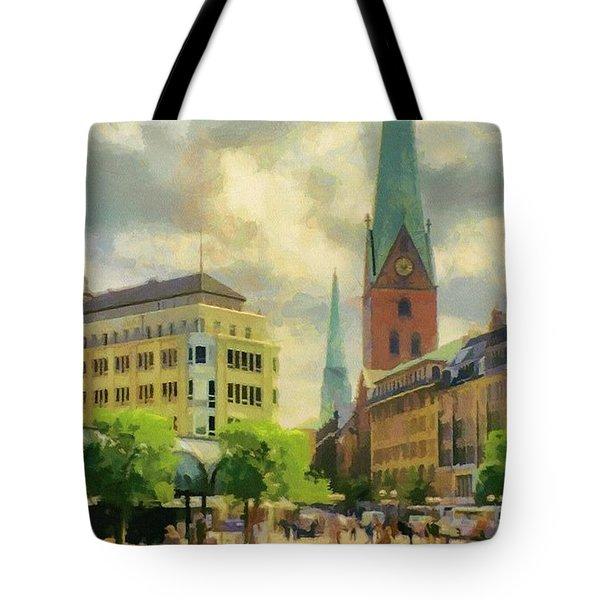 Hamburg Street Scene Tote Bag by Jeff Kolker