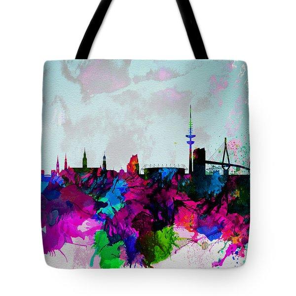 Hamburg Watercolor Skyline Tote Bag by Naxart Studio