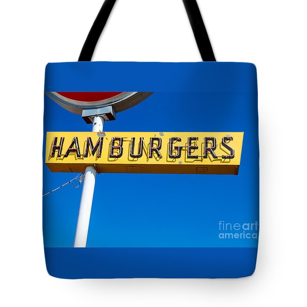 Hamburgers Old Neon Sign Tote Bag by Edward Fielding