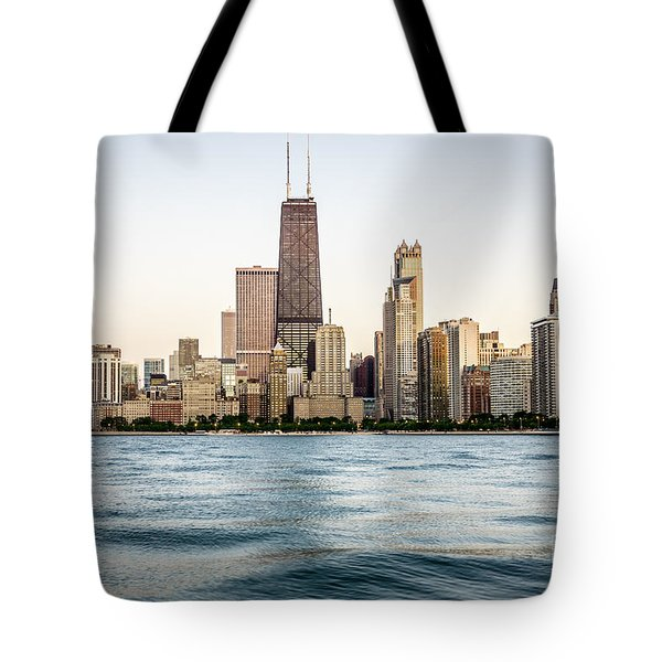 Hancock Building And Chicago Skyline Tote Bag by Paul Velgos