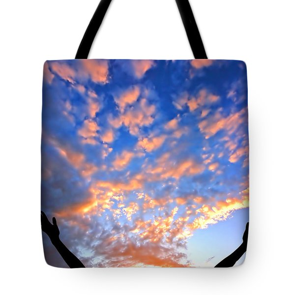 Hands up to the sky showing happiness Tote Bag by Michal Bednarek