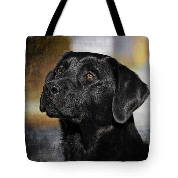 Handsome Black Lab Tote Bag by Eleanor Abramson