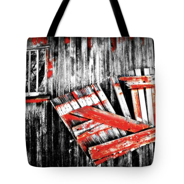 Hanging By A Few Nails Bw Tote Bag by Julie Hamilton