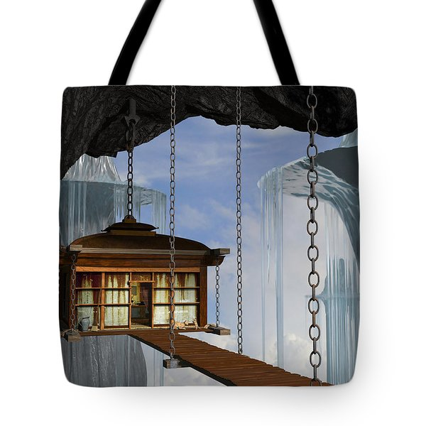 Hanging House Tote Bag by Cynthia Decker