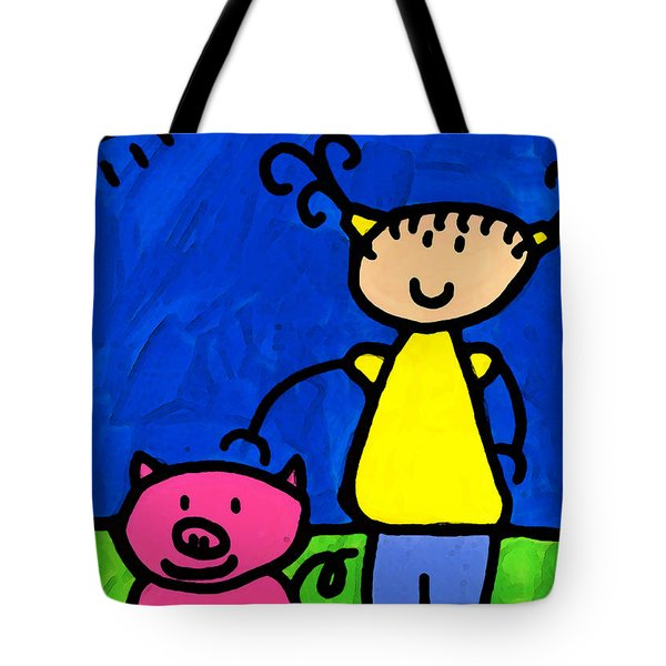 Happi Arte 1 - Girl With Pink Pig Art Tote Bag by Sharon Cummings