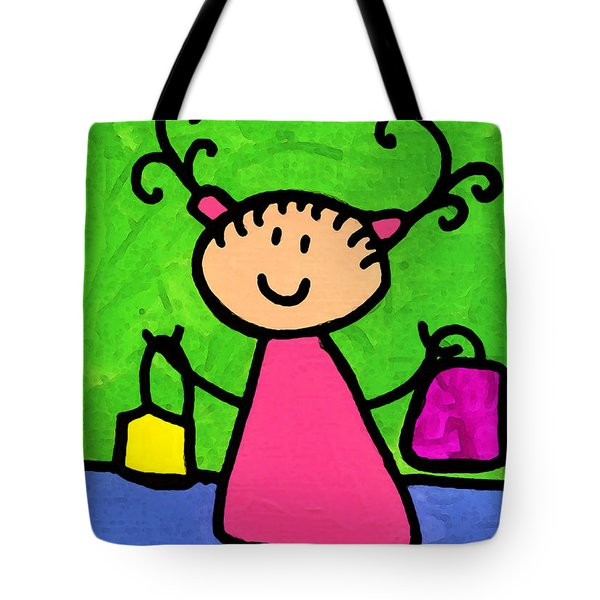 Happi Arti 5 - Shopaholic Little Girl Art Tote Bag by Sharon Cummings