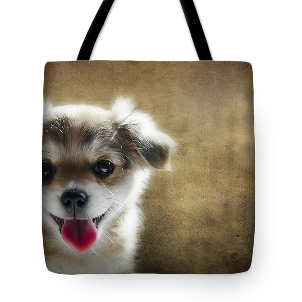 Happiness Is A Little Puppy Tote Bag by Lisa Knechtel