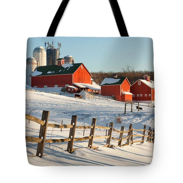Happy Acres Farm Square Tote Bag by Bill  Wakeley