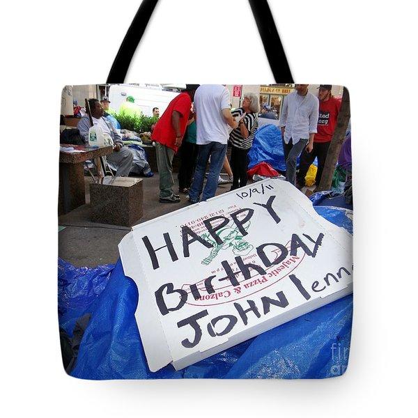Happy Birthday John Lennon Tote Bag by Ed Weidman