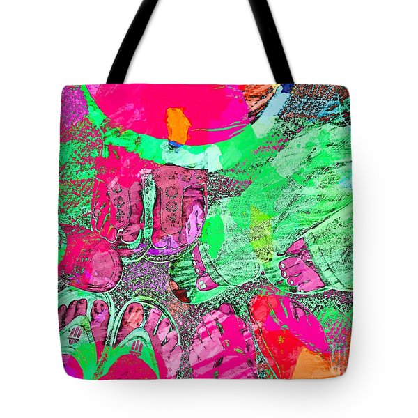 Happy Feet Abstract Photoart Tote Bag by Debbie Portwood