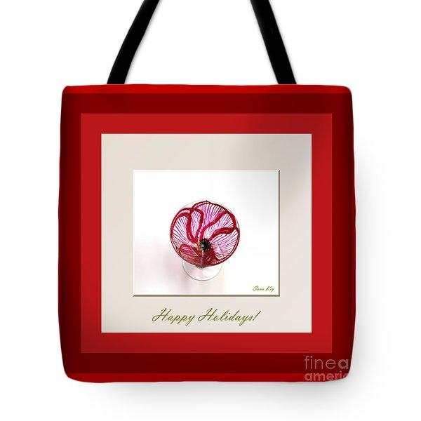 Happy Holidays. Red Poppy Tote Bag by Oksana Semenchenko