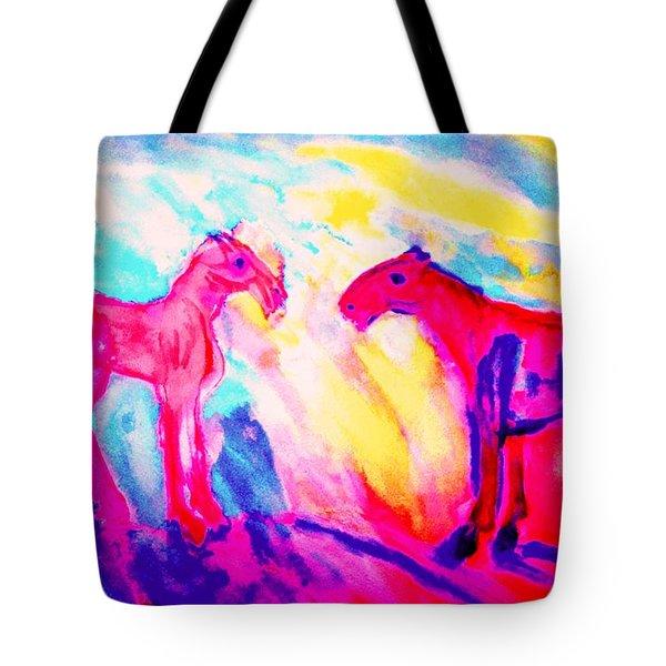 Happy Hulders Horses  Tote Bag by Hilde Widerberg