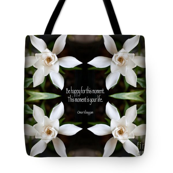 Happy - Omar Khayyam Quote Tote Bag by Susan Bloom