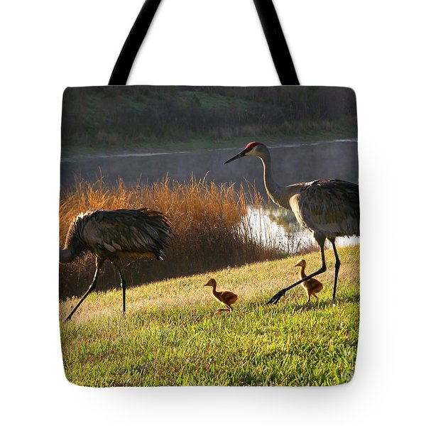 Happy Sandhill Crane Family Tote Bag by Carol Groenen