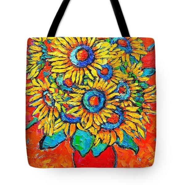 Happy Sunflowers Tote Bag by Ana Maria Edulescu