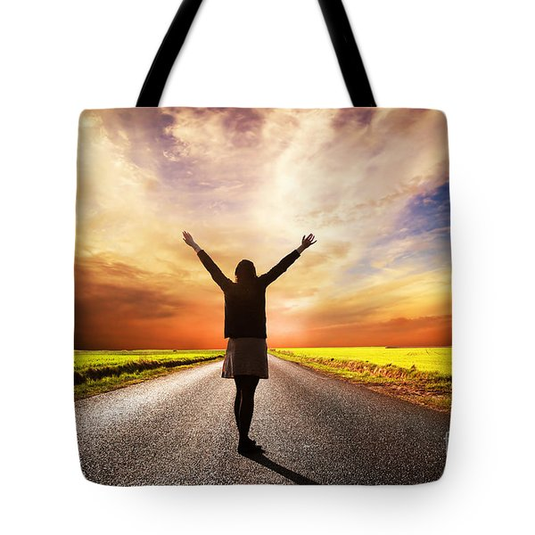 Happy Woman Standing On Long Road At Sunset Tote Bag by Michal Bednarek