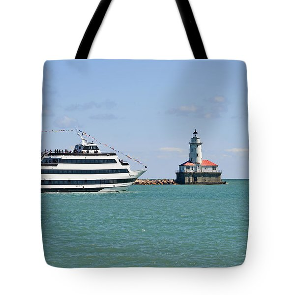 Harbor Light Chicago Tote Bag by Christine Till