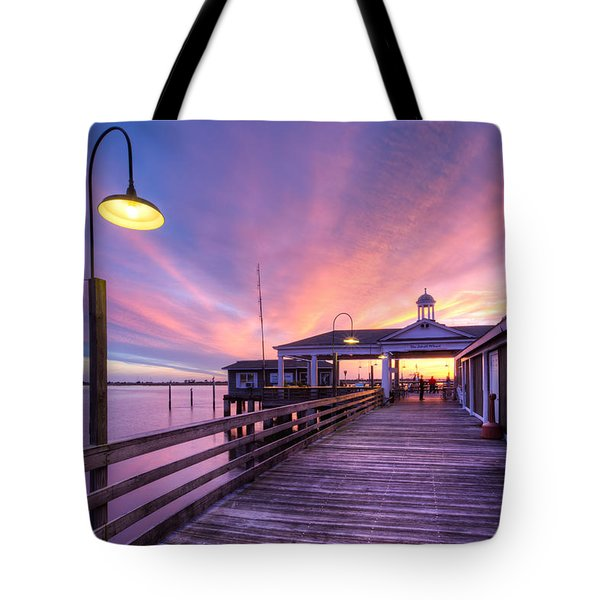 Harbor Lights Tote Bag by Debra and Dave Vanderlaan