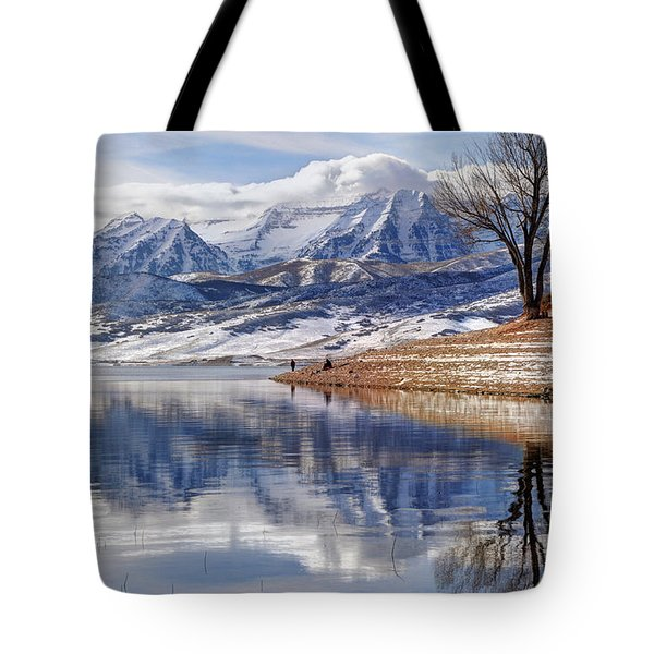 Hardy Fishermen Deer Creek Reservoir And Timpanogos In Winter Tote Bag by Gary Whitton
