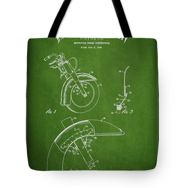 Harley Davidson Fender Construction Patent Drawing From 1949 - Green Tote Bag by Aged Pixel