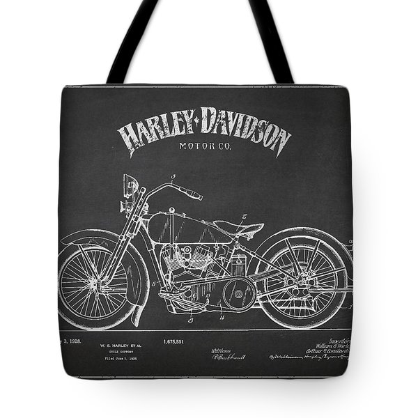 Harley Davidson Motorcycle Cycle Support Patent Drawing From 192 Tote Bag by Aged Pixel