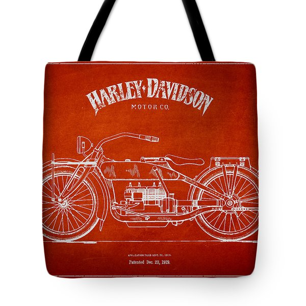 Harley Davidson Motorcycle Patent Drawing From 1919 Tote Bag by Aged Pixel