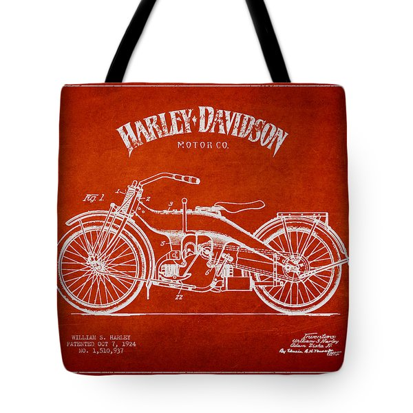 Harley Davidson Motorcycle Patent Drawing From 1924 Tote Bag by Aged Pixel