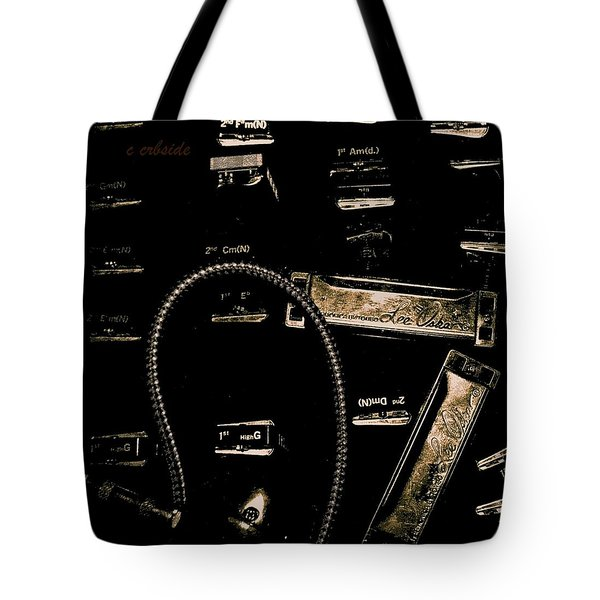 Harps In Brown Tote Bag by Chris Berry