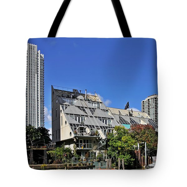 Harry Weese's Chicago River Cottages Tote Bag by Christine Till