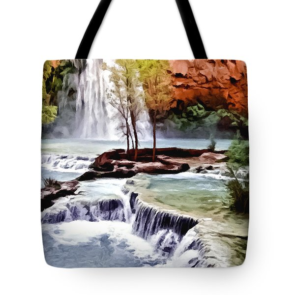 Havasau Falls Painting Tote Bag by Bob and Nadine Johnston