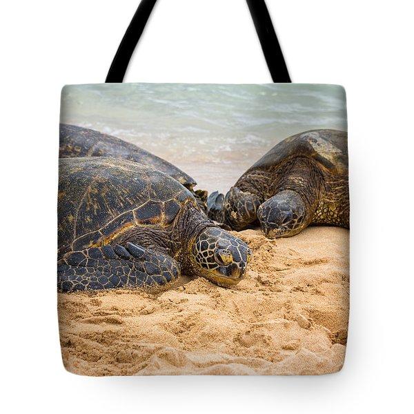 Hawaiian Green Sea Turtles 1 - Oahu Hawaii Tote Bag by Brian Harig