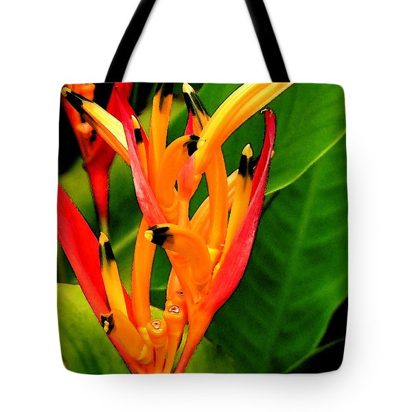 Hawaiian Parakeet Heliconia Tote Bag by James Temple