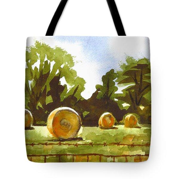 Hay Bales at Noontime  Tote Bag by Kip DeVore