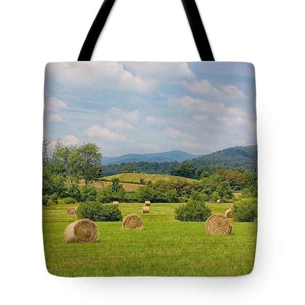 Hay Bales In Farm Field Tote Bag by Kim Hojnacki