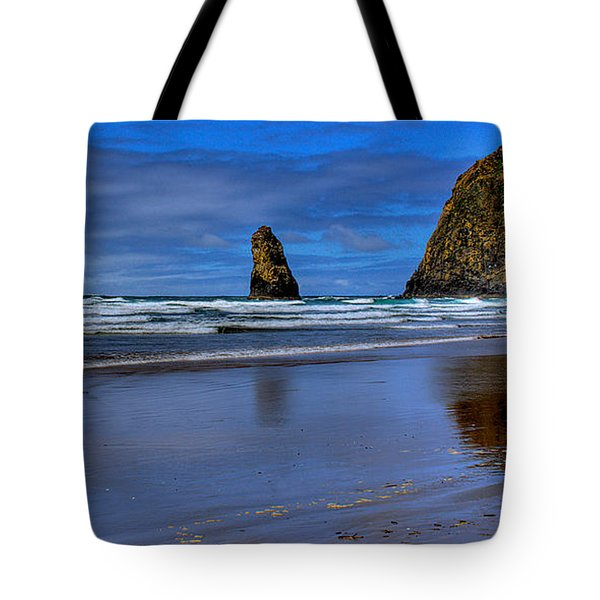 Haystack Rock And The Needles II Tote Bag by David Patterson
