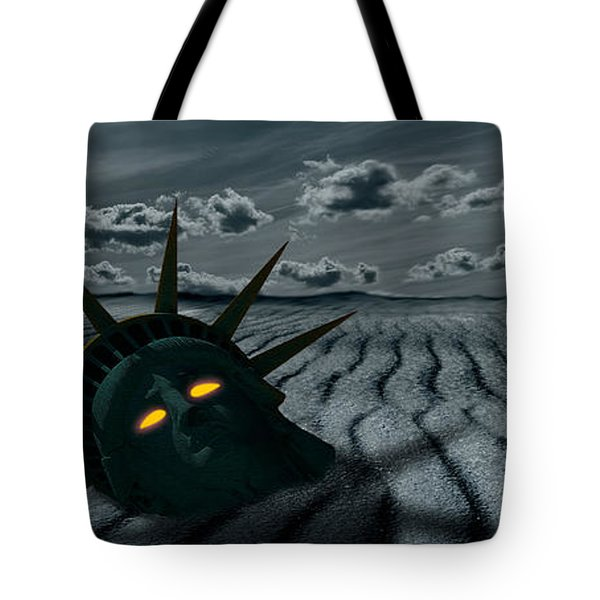 Head Of A Statue With A Broken Bridge Tote Bag by Panoramic Images