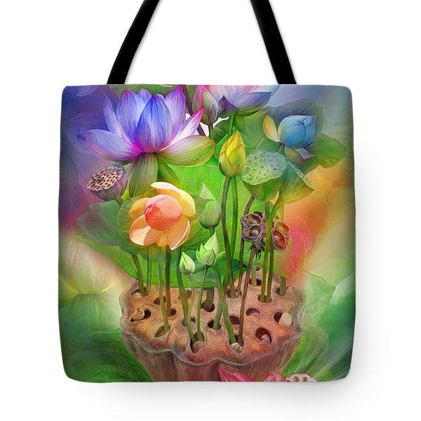 Healing Lotus - Chakras Tote Bag by Carol Cavalaris