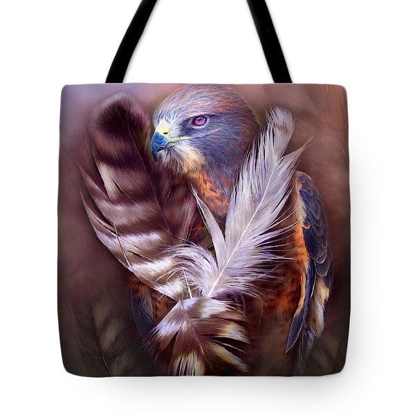Heart Of A Hawk Tote Bag by Carol Cavalaris