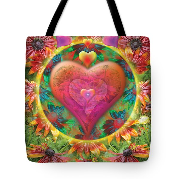 Heart Of Flowers Tote Bag by Alixandra Mullins