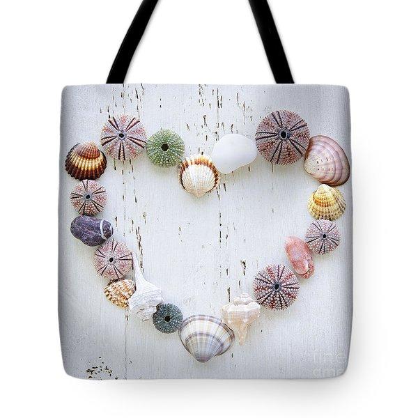 Heart of seashells and rocks Tote Bag by Elena Elisseeva