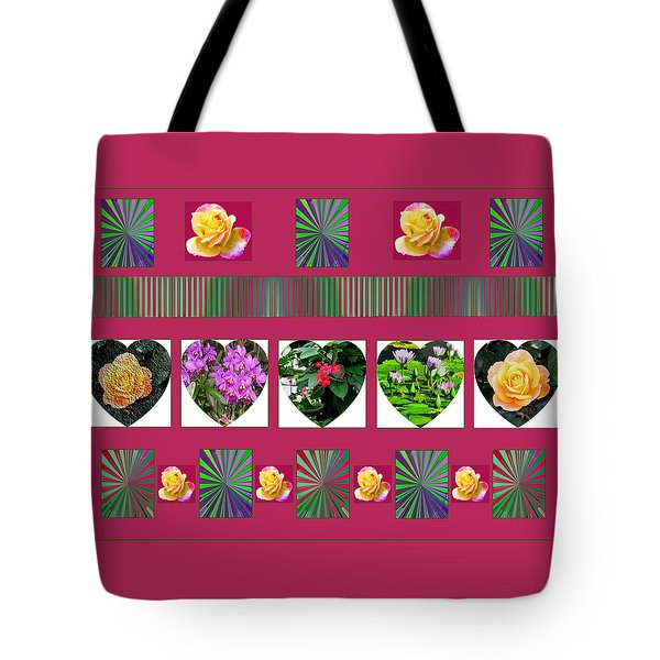 Hearts And Flowers 2 Tote Bag by Marian Bell
