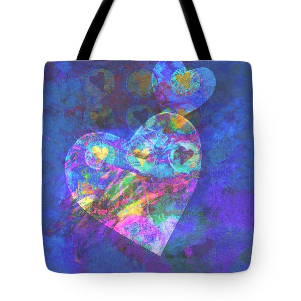 Hearts on Blue Tote Bag by Ann Powell