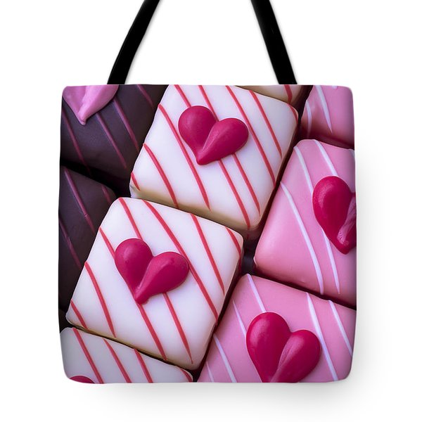 Hearts On Candy Tote Bag by Garry Gay