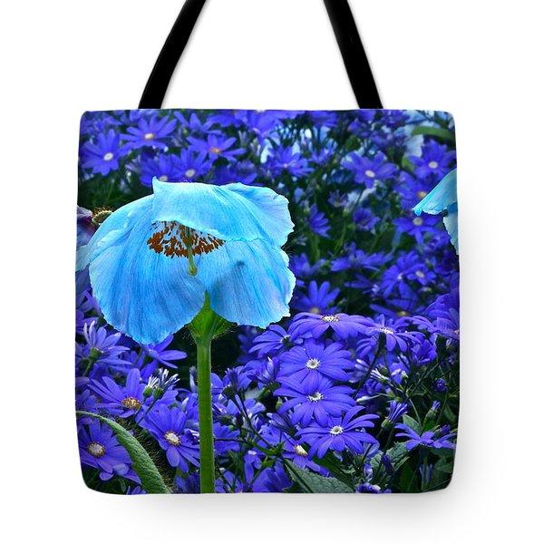 Heavenly Blue On Blue And Purple Tote Bag by Byron Varvarigos
