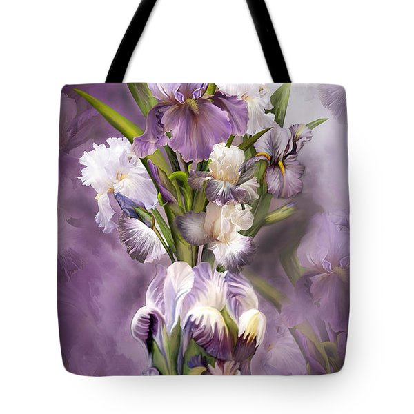 Heirloom Iris In Iris Vase Tote Bag by Carol Cavalaris