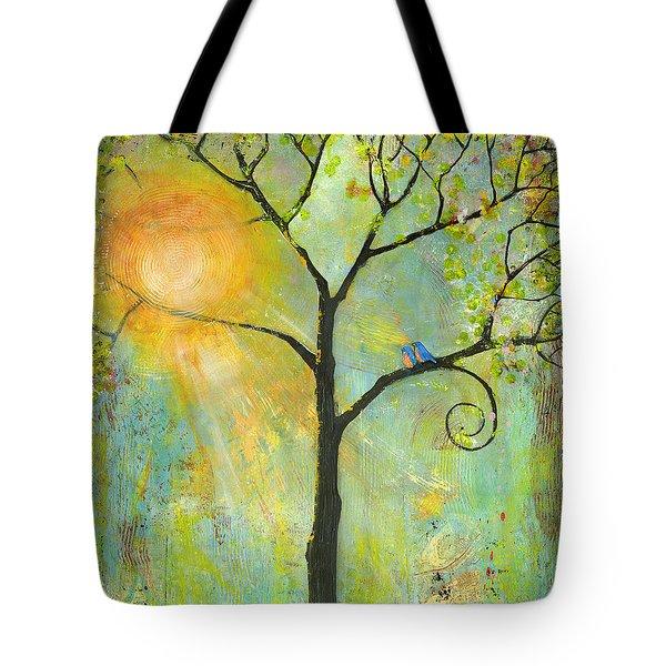 Hello Sunshine Tree Birds Sun Art Print Tote Bag by Blenda Studio