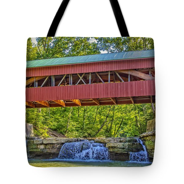 Helmick Mill or Island Run Covered Bridge  Tote Bag by Jack R Perry